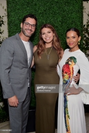 BEVERLY HILLS, CALIFORNIA - JULY 10: (L-R) Tom Ellis, Erika Olde and Lesley-Ann Brandt as The American Friends of Covent Garden Celebrates 50 Years With A Special Event For The Royal Opera House and The Royal Ballet at Jean Georges Beverly Hills on July 10, 2019 in Beverly Hills, California. (Photo by Stefanie Keenan/Getty Images for American Friends of Covent Garden)