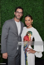 BEVERLY HILLS, CALIFORNIA - JULY 10: (L-R) Tom Ellis and Lesley-Ann Brandt as The American Friends of Covent Garden Celebrates 50 Years With A Special Event For The Royal Opera House and The Royal Ballet at Jean Georges Beverly Hills on July 10, 2019 in Beverly Hills, California. (Photo by Stefanie Keenan/Getty Images for American Friends of Covent Garden)